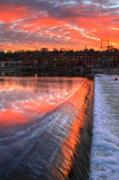 Abstract Landscape Art - Sunrise at the dam by Robert Pearson