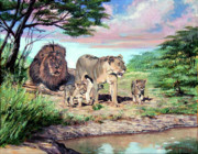 Lion Illustrations Posters - Sunrise at the Oasis Poster by David Lloyd Glover