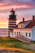 West Quoddy Head Lighthouse Framed Prints - Sunrise at West Quoddy Head Framed Print by Jack Schultz