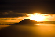 Canary Yellow Prints - sunrise behind Mount Teide Print by Ralf Kaiser