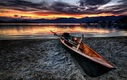 Mountain Cabin Photo Prints - Sunrise Boat Print by Matt Hanson