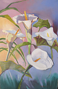Pastel Paintings - Sunrise Callas by Suzanne Giuriati-Cerny
