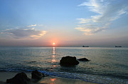 Caribbean Fort Prints Posters - Sunrise Calm Sea Ships Poster by Ken  Collette