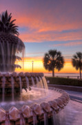 Fountain Digital Art Originals - Sunrise Charleston Pineapple Fountain  by Dustin K Ryan