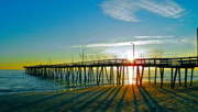 Oceanfront Metal Prints - Sunrise Christmas Pier Metal Print by E Robert Dee