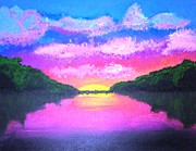 Sunrise Over Water Paintings - Sunrise by Dawn Plyler