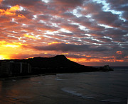 Los Angeles Pyrography Prints - Sunrise Diamond Head I Print by Russell Jenkins