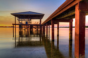 Sail Fish Prints - Sunrise Dock Print by Debra and Dave Vanderlaan