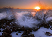 Spray Photos - Sunrise Explosion by Mike  Dawson