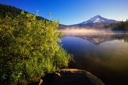 Lake Reflection Framed Prints - Sunrise Fog On Trillium Lake Framed Print by Natural Selection Craig Tuttle