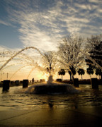 Lanscape Posters - Sunrise Fountain II Poster by Tom Rickborn
