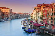 Mooring Posters - Sunrise Grand Canal, Venice Poster by Proframe Photography