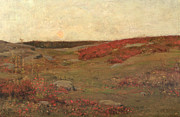 Fields Of Flowers Paintings - Sunrise in Autumn by Childe Hassam