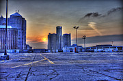 Nba Digital Art Posters - Sunrise in Detroit MI Poster by Nicholas  Grunas