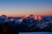 Alpine Skiing Prints Metal Prints - Sunrise in mountains Metal Print by Iurii Zaika