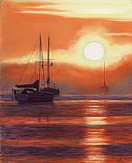 Ship Pastels Prints - Sunrise in Newburyport Mass Print by Sharon Morley  APS