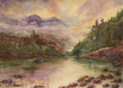 In Earth Tones Paintings - Sunrise in the Mountains by B Rossitto