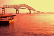 Patapsco River Photos - Sunrise Key Bridge by Thomas R Fletcher