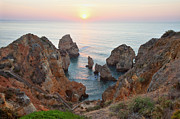 Algarve Posters - Sunrise Lagos Coastline Poster by Monica and Michael Sweet