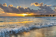 Boynton Beach Posters - Sunrise Lights Poster by Debra and Dave Vanderlaan