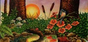 Toadstools Painting Originals - Sunrise by Michael Frank