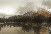 Canadian Winter Art Framed Prints - Sunrise Mountain Framed Print by Andrea Hazel Ihlefeld