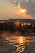 Upper Geyser Basin Acrylic Prints - Sunrise Near Yellowstones Punch Bowl Spring by Bruce Gourley