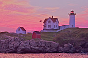 Nubble Lighthouse Framed Prints - Sunrise Nubble Lighthouse Framed Print by Dale J Martin