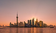 Bund Shanghai Framed Prints - Sunrise On Bund Framed Print by Viktor Chan Photography