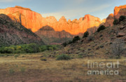 Monolith Prints - Sunrise on East Temple Print by Sandra Bronstein