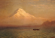 Snow Capped Mountains Posters - Sunrise on Mount Tacoma  Poster by Albert Bierstadt