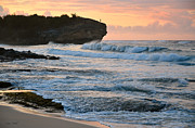 Surf Silhouette Posters - Sunrise on Shipwreck Beach Poster by Marie Hicks