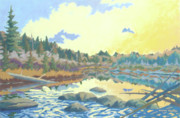 Wysocki Prints - Sunrise on the Armstrong River Print by Stephen Wysocki