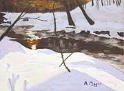 Snowscape Paintings - Sunrise on the Creek by Alan Mager