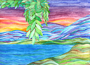 Water Colors Painting Originals - Sunrise on the Lake by Sue Gardiner