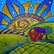 Inna Novikova Art - Sunrise on the Midnight Farm by Inna Novikova