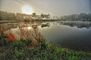 Crimson Tide Photo Prints - Sunrise on the Pond Print by Michael Thomas