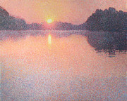 Pointillism Originals - Sunrise on the River by Catherine Bath