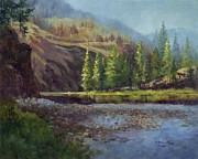 Salmon Painting Posters - Sunrise on the Salmon River Poster by Michele Thorp