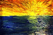 Sun Rays Paintings - Sunrise on the Water by Amanda Struz