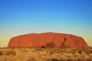 Red Centre Prints - Sunrise on Uluru Print by Nancy Morrison