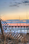 Sand Fences Photos - Sunrise on Wrightsville Beach by JC Findley
