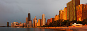 Chicago Skyline Art - Sunrise over Chicago by Adam Romanowicz
