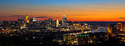 Glowing Prints - Sunrise over Cincinnati Print by Keith Allen