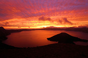Crater Lake Sunset Photos - Sunrise Over Crater Lake by Adam Jewell