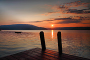 Dock Prints Posters - Sunrise Over Keuka III Poster by Steven Ainsworth