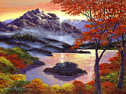 Autumn Trees Painting Prints - Sunrise Over Mystic Lake Print by David Lloyd Glover