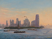 Liberty Paintings - Sunrise over New York Harbor by Alex Vishnevsky