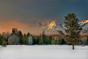 Winter Art - Sunrise Over Sawtooth Mountains Idaho by Knowles Photography