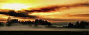 Wa Posters - Sunrise over the Cascades Poster by DMSprouse Art